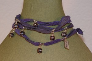 Blueberries Warrior Wrap with Silk and Pearls